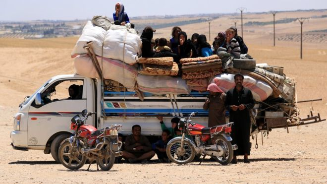 Syrians fleeing conflict account for 12 million of the world's displaced people. AFP