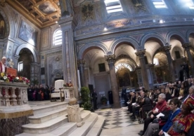 Pope Francis was speaking at an event at the basilica of St Bartholomew on Saturday